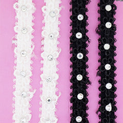 Flower Lace with Clear Crystal Fashion Bra Shoulder Straps, 10mm Wide, Black and White Color Set