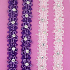 Flower Lace with Clear Crystal Fashion Bra Shoulder Straps, 10mm Wide, Purpe and Pink Color Set