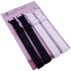 12mm Black and White Color Fashion Pattern Bra Straps, Lingerie Accessories, Pack of 2