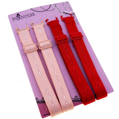 12mm Cream and Red Color Fashion Pattern Bra Straps, Lingerie Accessories, Pack of 2