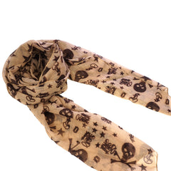 Brown Skull and Star Pattern Scarf Shawl Wrap Sarong with Pink Gift Box