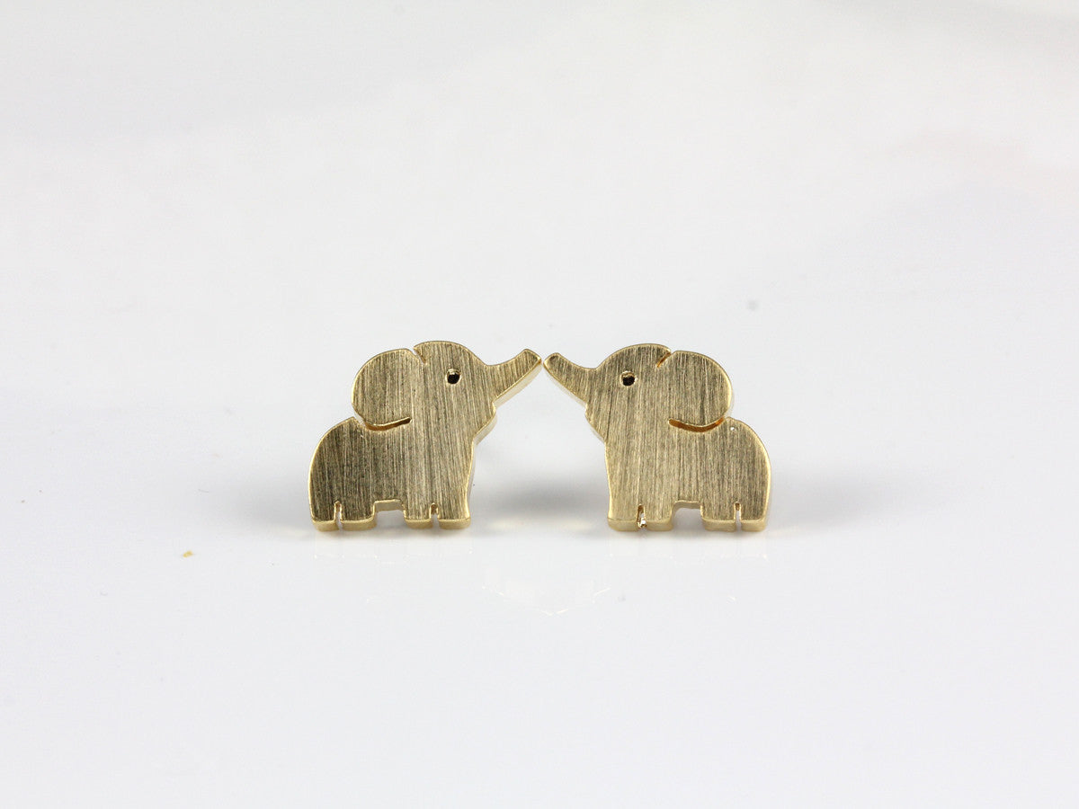 cz e gold elephant haz studs earrings