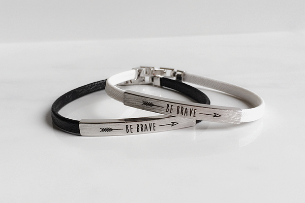 Be Brave Bar Leather Bracelet