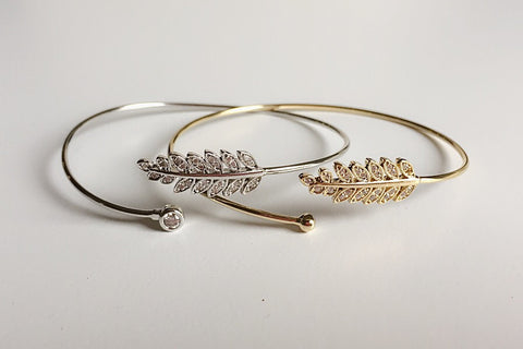 Pave Leaf Bangle