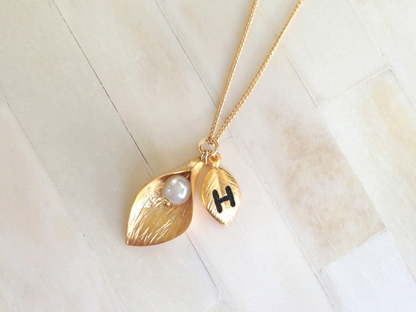 Gold Bridesmaid Initial Necklace