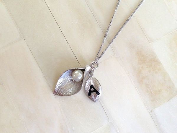 Silver Bridesmaid Initial Necklace