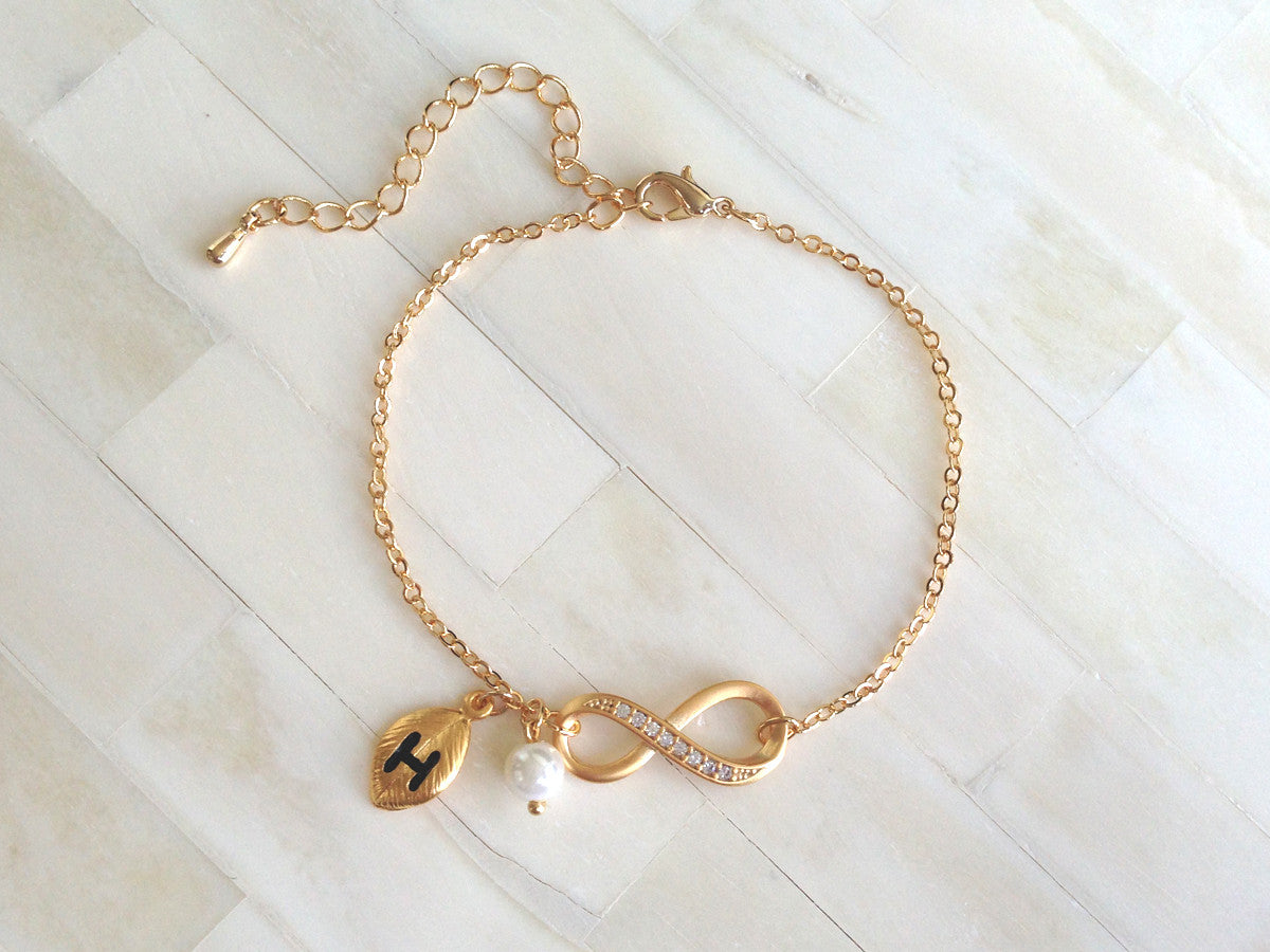 Gold Infinity Initial Bracelet