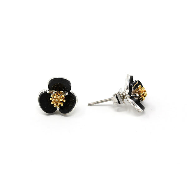 Black Toned Flower Ring