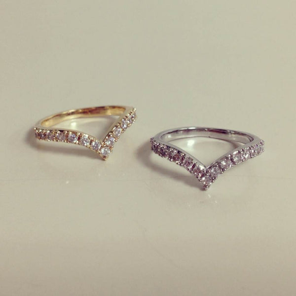 Crystal Chevron Knuckle Ring