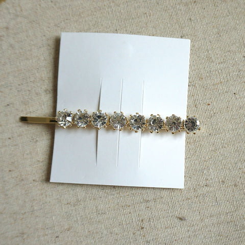 Round Crystal Cubic Hair Clip