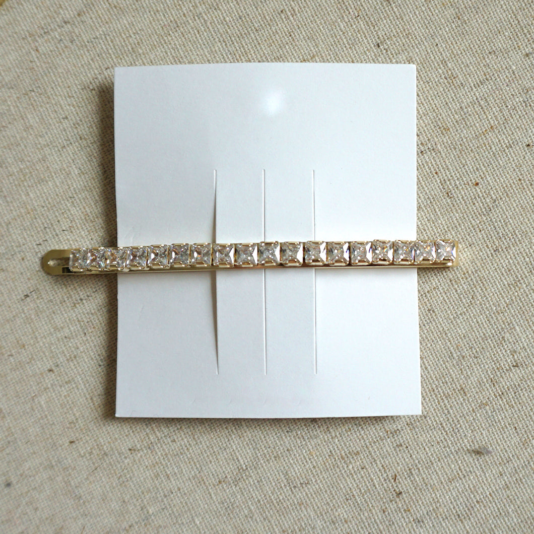 Square Crystal Cubic Hair Clip