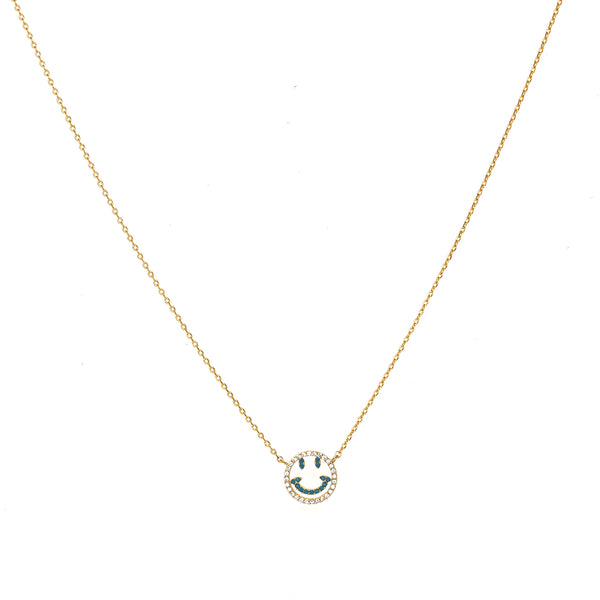 Smile Face Turq Necklace