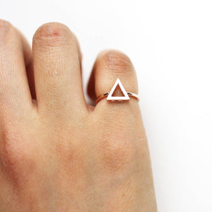 14K Gold Triangle Ring