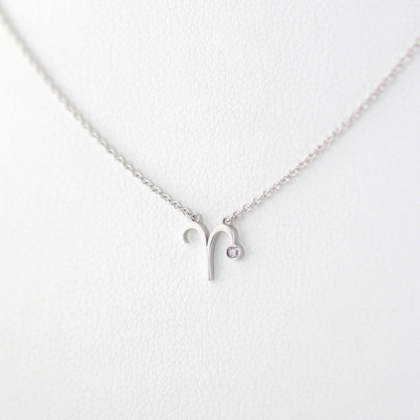 Aries Zodiac Sign Diamond Necklace
