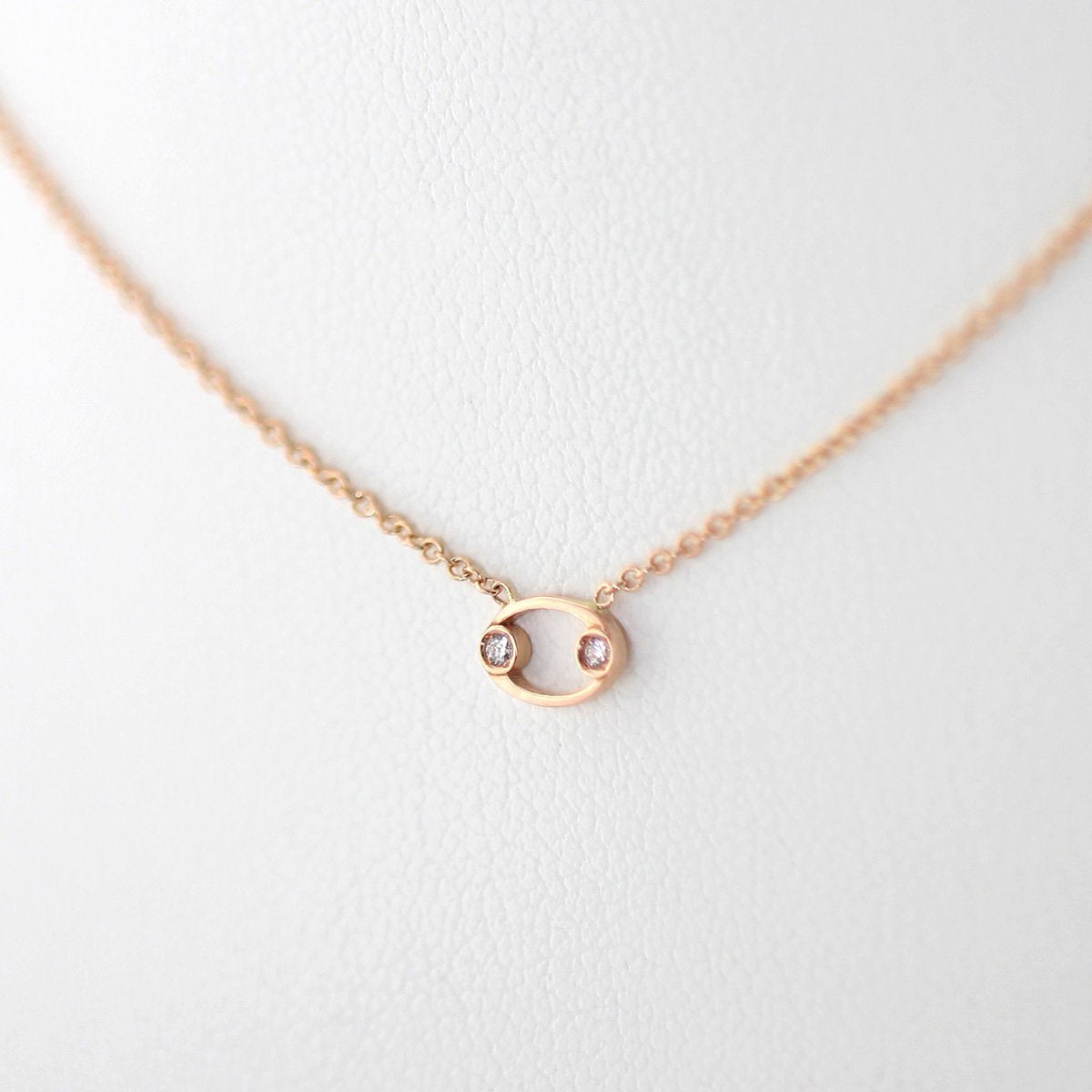 Cancer Zodiac Sign Diamond Necklace