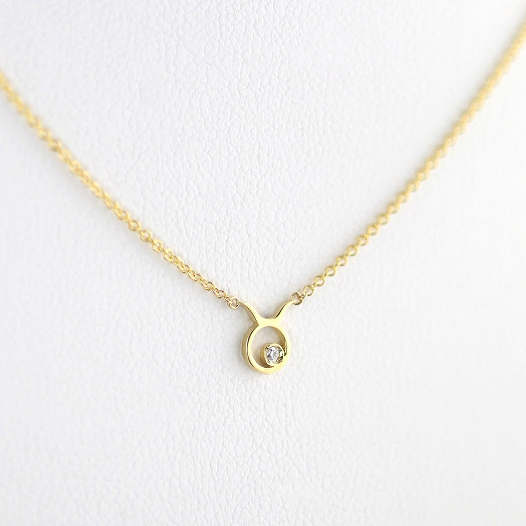 Taurus Zodiac Sign Diamond Necklace