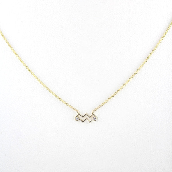 Aquarius Zodiac Sign Diamond Necklace