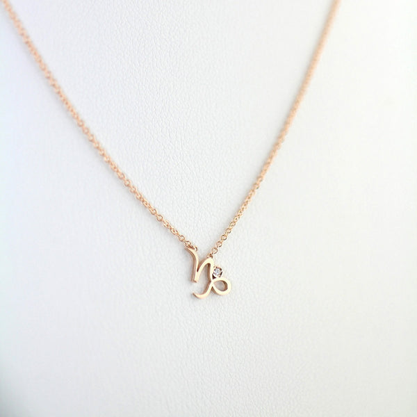 Capricorn Zodiac Sign Diamond Necklace