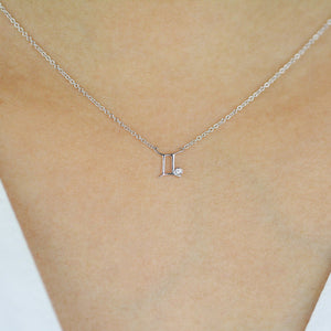 Gemini Zodiac Sign Diamond Necklace