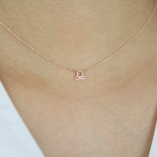 Libra Zodiac Sign Diamond Necklace