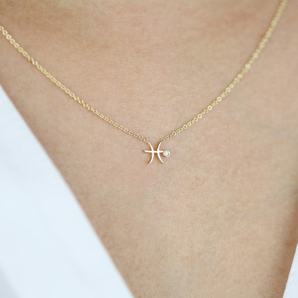 Pisces Zodiac Sign Diamond Necklace