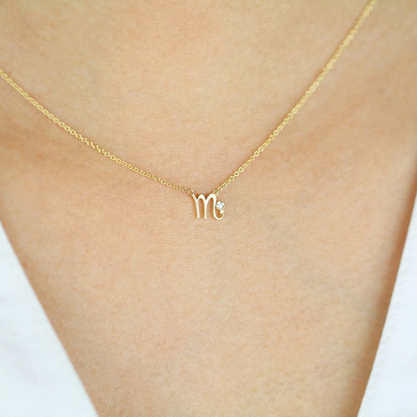 Scorpio Zodiac Sign Diamond Necklace