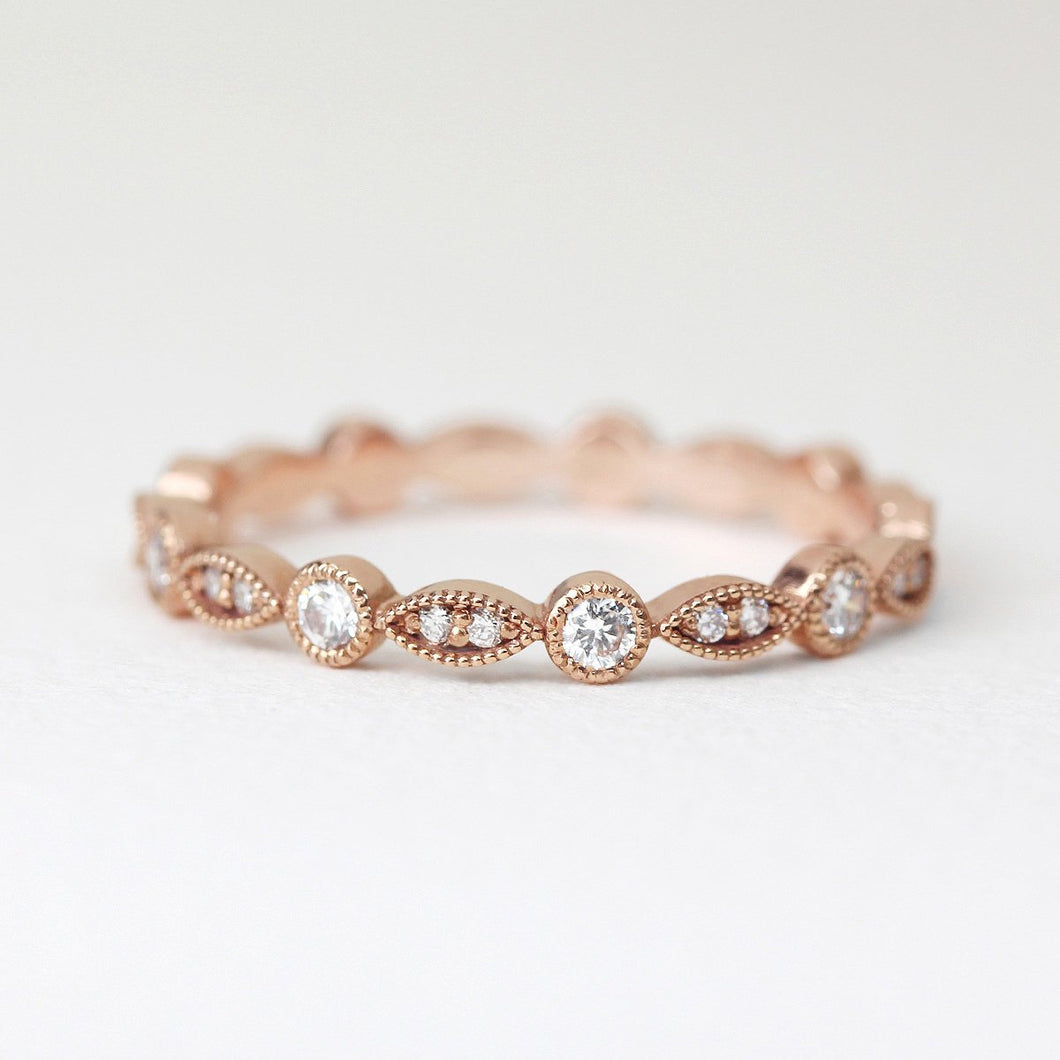 Art Deco Half Eternity Diamond Band