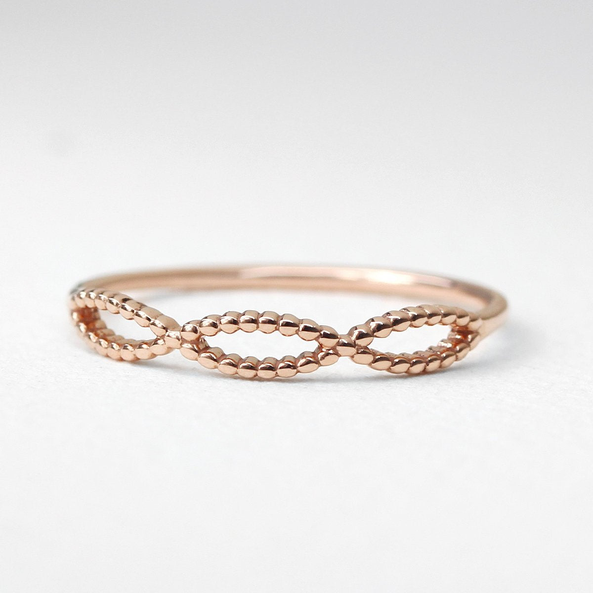 14K Solid Gold Bead Infinity Ring