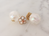 Flower & Cracked Crystal Double Studs