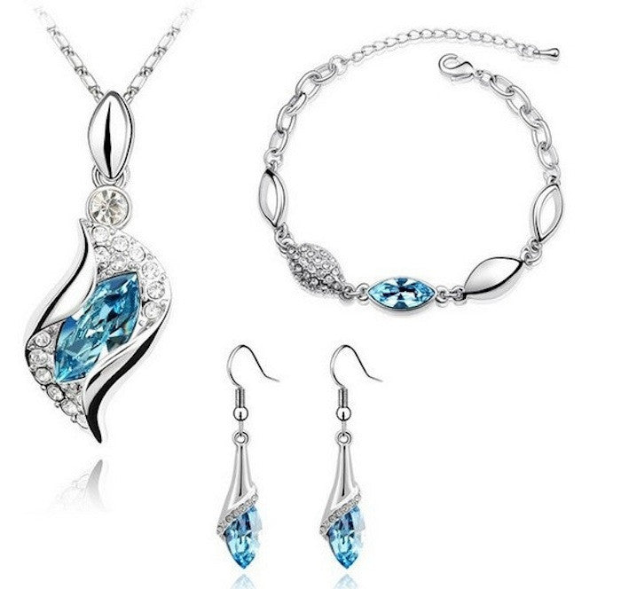 18K White Gold Plated Crystal Drop Tri Set made with Swiss Crystals