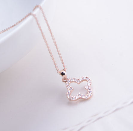 18k Gold Plated Clover Necklace with Cubic Zirconia Stones