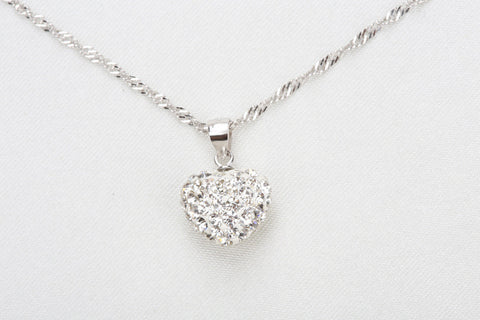 Sterling Silver Plated Bubble Heart Necklace