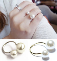 18K Gold Plated Pearl Adjustable Ring