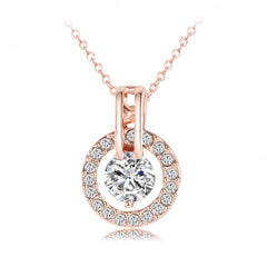 Ladies Classic 18K Rose Gold Plated Round Pendant Necklace with Swiss Crystals