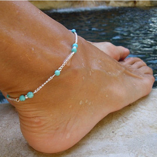Ankle Bracelet with Bead Chains