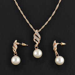 18k Gold Plated Rhinestone Pearl Necklace and Earrings Set with Swiss Crystals
