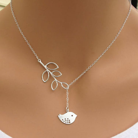 White Gold Plated Tree and Bird Necklace