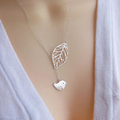 White Gold Plated Leaf and Bird Necklace