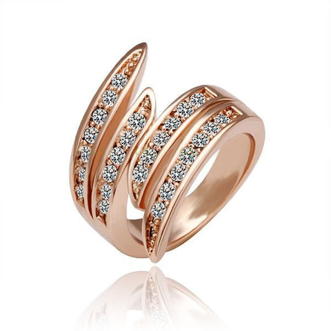 18k Ladies Wave Rose Gold Ring