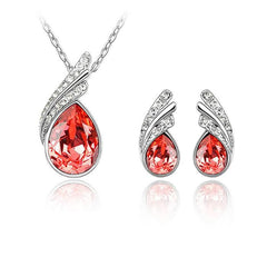 White Gold Plated Water Drop Leaves Earrings Necklace Jewelry Set