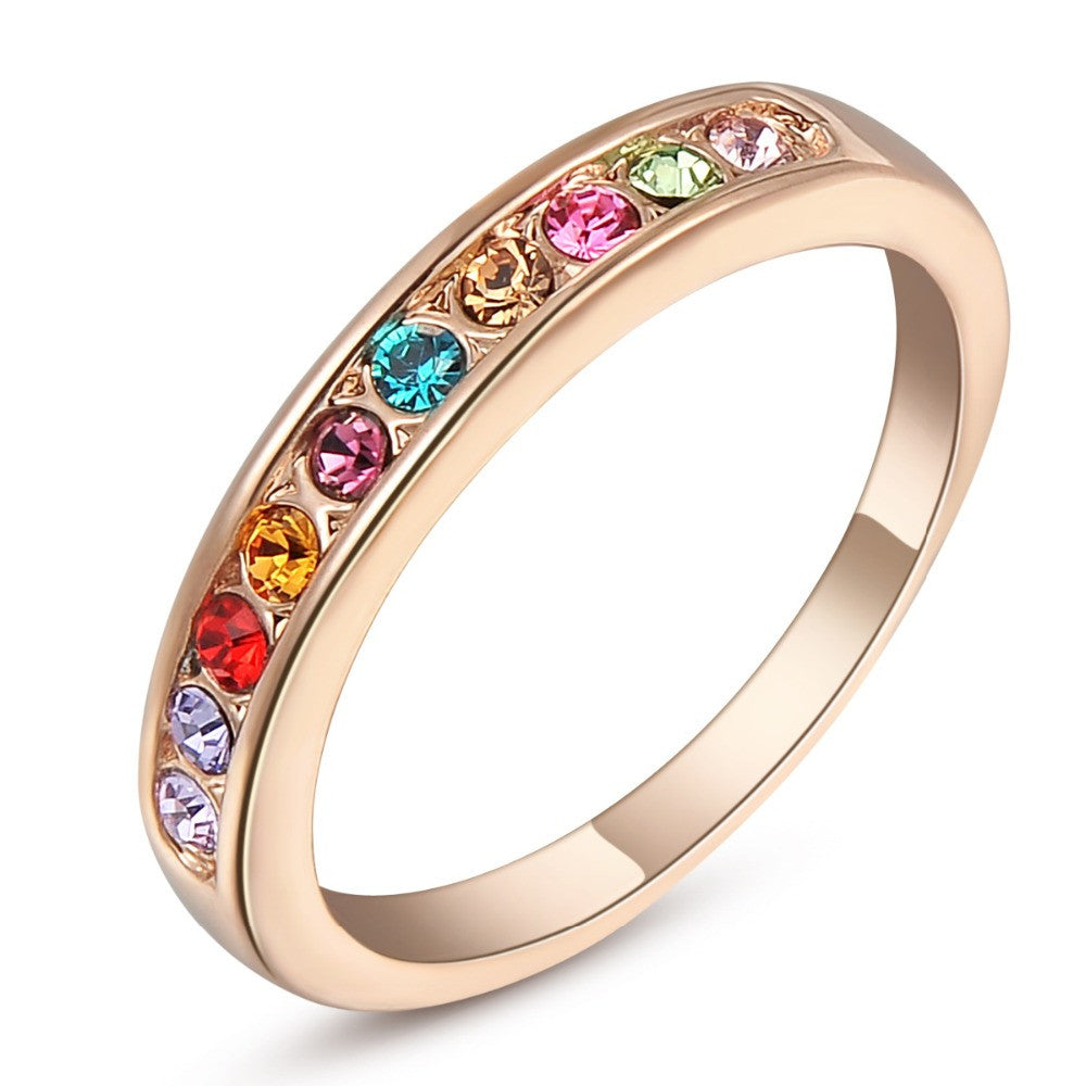 Ladies 18K Rose Gold Plated Italina Rigant Ring with Swiss Crystals