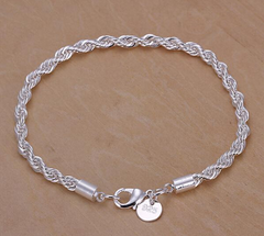 Sterling Silver Plated Jewelry Rope Bracelet