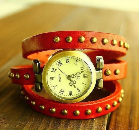 Vintage Ladies Leather Watch Bracelet
