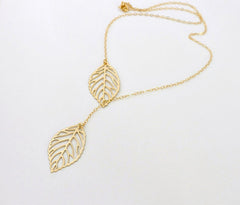 FREE SAMPLE - Ladies 18k Gold Plated Two Leaf Pendant Necklace
