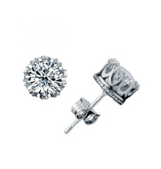 925 Sterling Silver Plated Crystal Crown Stud Earrings