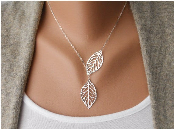 Ladies 18k gold plated two leaf pendant necklace shop chainz ladies 18k gold plated two leaf pendant necklace aloadofball Choice Image