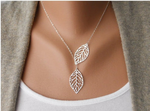 Ladies 18k Gold Plated Two Leaf Pendant Necklace