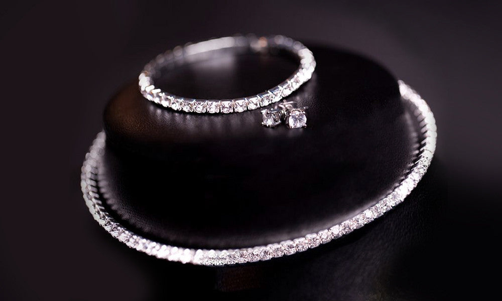 18k White Gold Plated Tennis Necklace, Bracelet and Earrings Set