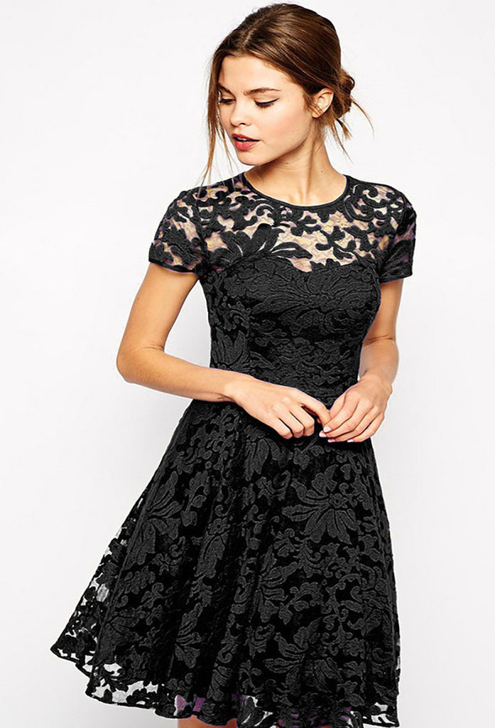 Ladies Denise Lace Short Sleeve Cocktail Dress