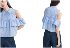 Womens Shoulder Off Ruffles Shirts